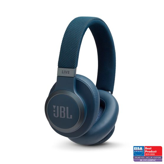 JBL LIVE 650BTNC - Blue - Wireless Over-Ear Noise-Cancelling Headphones - Hero