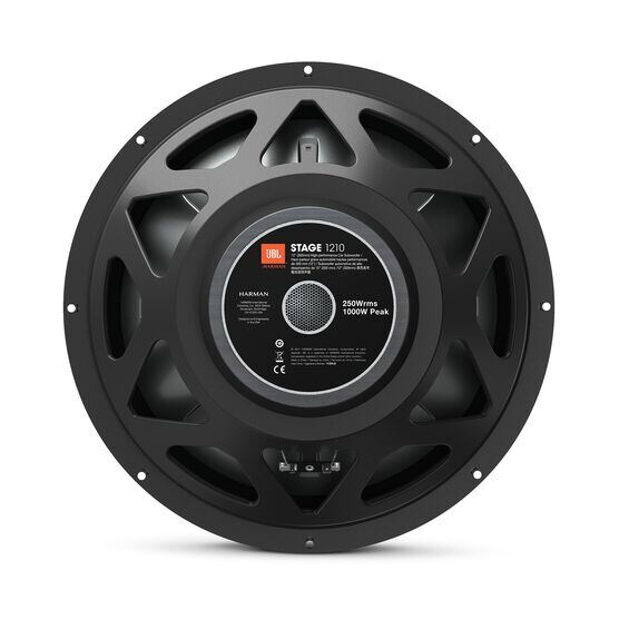 "JBL Stage 1210 Subwoofer - Black - 12"" (300mm) woofer with 250 RMS and 1000W peak power handling. - Back"