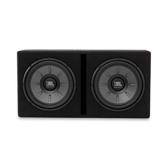 """Stage 1220B subwoofer enclosure - Black - Dual 12"""" Stage subwoofers mounted in a slot-ported enclosure - Front"""