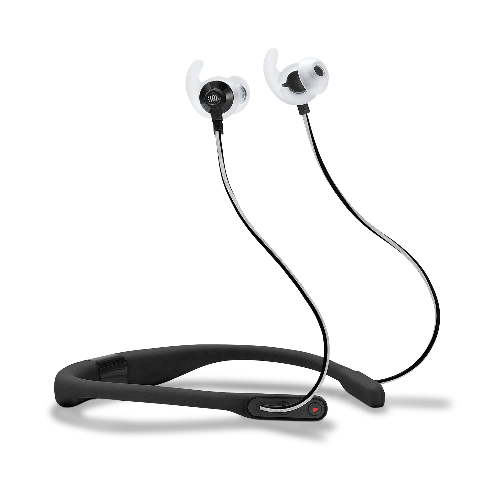 JBL Reflect Fit - Black - Heart Rate Wireless Headphones - Hero