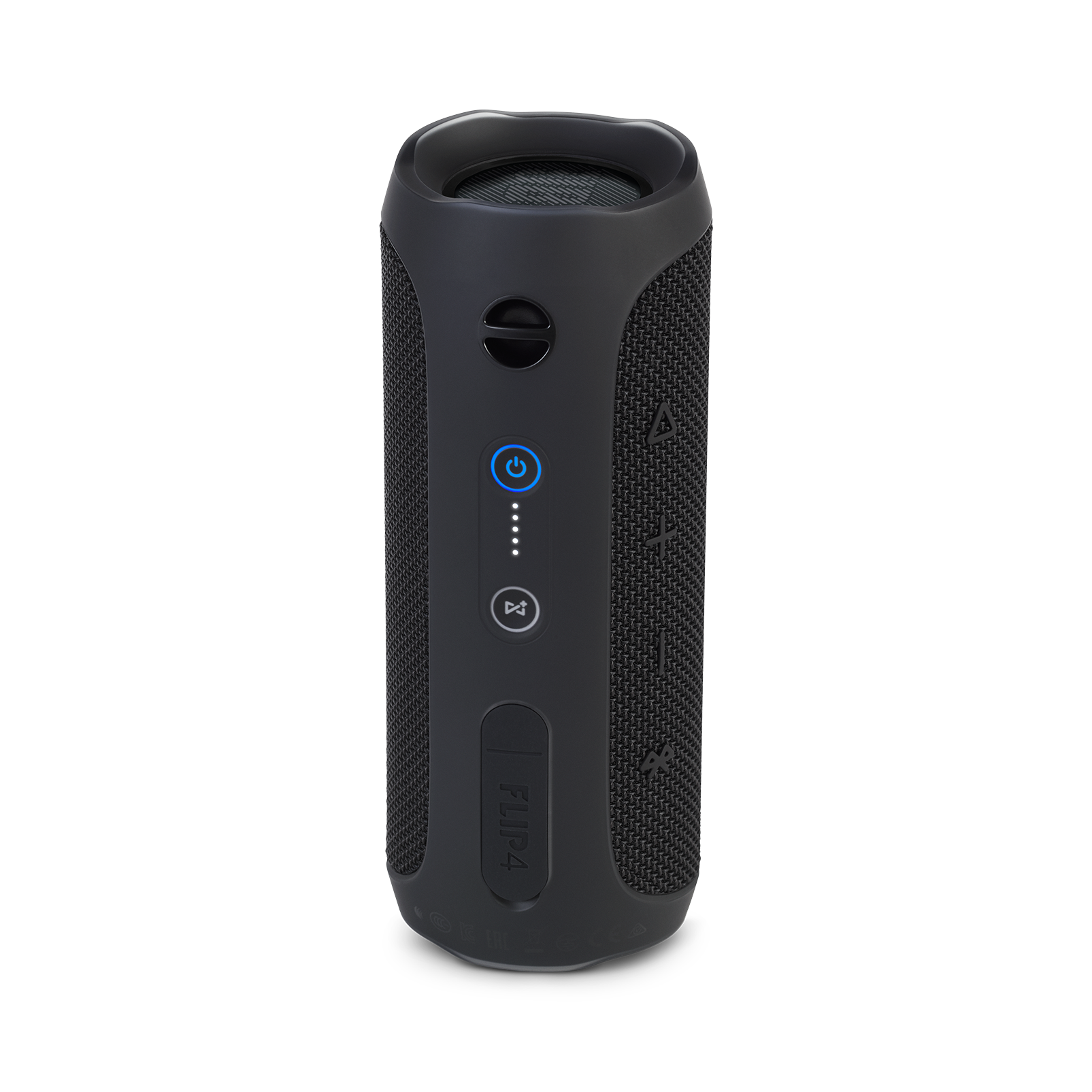 JBL Flip 4 - Black - A full-featured waterproof portable Bluetooth speaker with surprisingly powerful sound. - Back