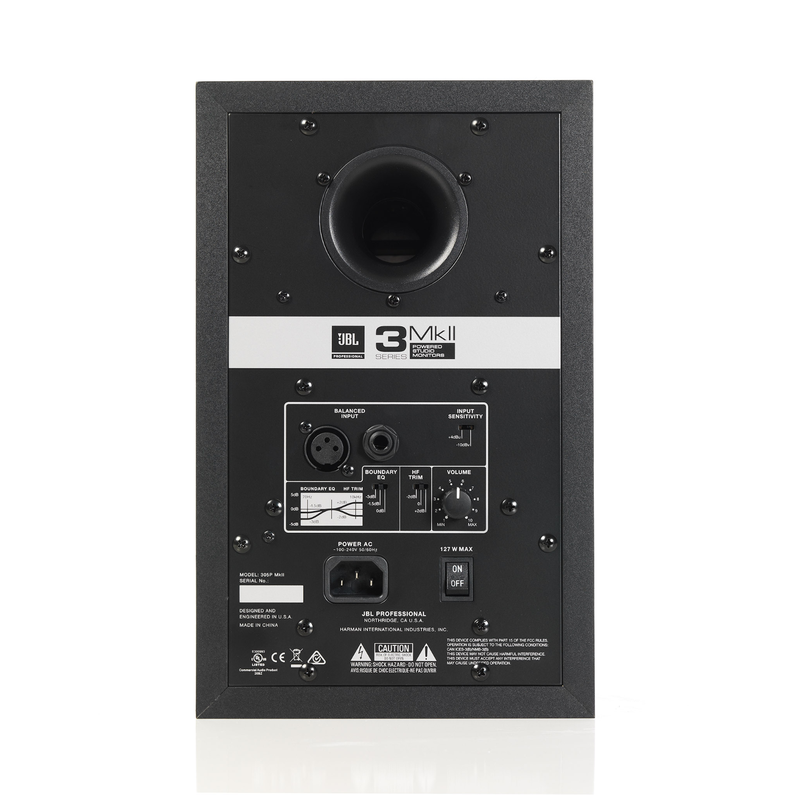 "JBL 305P MkII - Black - Powered 5"" Two-Way Studio Monitor - Back"